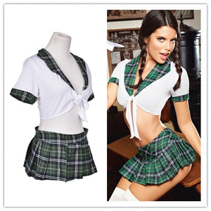 1Set Sexy Students School Girl Uniform Role Play Costumes Adults Halloween Clothes Women Girl Plaid Cosplay Clothing