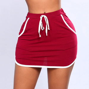 Summer Ladies Sexy Skirt White Sides Swearpants High Elastic Waist Short Skirts Women Joggers Fitness Skirt With Pockets