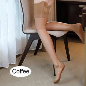Vintage Sexy Lingerie Women Stockings Wide Rib Top Cuff Transparent Medias Back Seam Keyhole Cuban Heel Thigh High Stockings