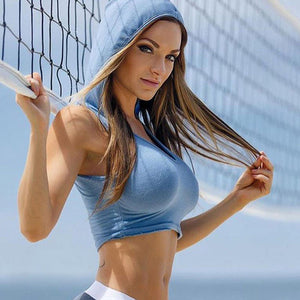 Women Sport Tank Crop Tops Fashion Hooded Athletic Vest Gym Fitness Sports Bras Yoga Running Female Girls Sprots Short Tees