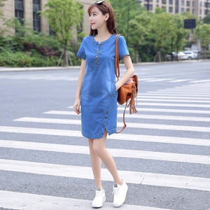 BOodinerinle Korean Plus Size Denim Dress For Women Summer Dress 2019 Casual With Button Pocket Sexy Mini Jeans Dress 3xl