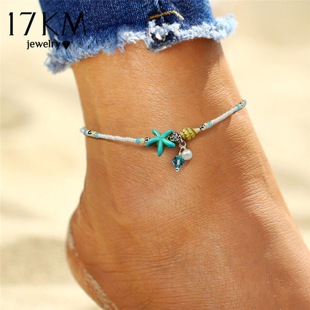 Starfish Pendant Anklets 2019 For Women New Stone Beads Shell Anklet Bohemian Bracelets On Leg BOHO Ocean Jewelry Drop Shipping