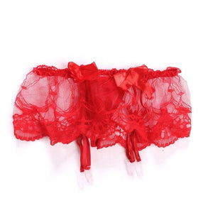 KLV 2019 New Womens Sexy Lace Solid Thin Sexy Suspender G-String Garter Belt Stockings Set Lingerie Bowknot