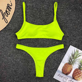 Women Swimwear 2019 Neon Yellow Micro Bikini Sexy Thong Swimsuit Female Low Waist Bikini set Bather Ribbed Bathing Suit