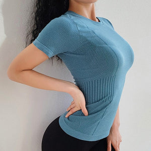 Seamless yoga top for women workout gym crop top fitness sport shirts breathable running t shirt athletic activewear tops