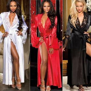 Women Sexy Faux Satin Lace Silk Long Robes Underwear Lingerie Nightdress Sleepwear Bathing Robe Belt Without G-string Black W3