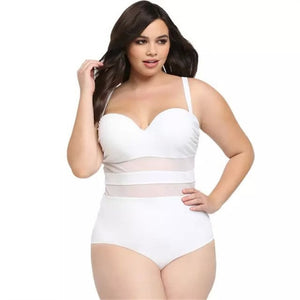 2019 Plus Large Size Swimwear Fused Women One-Piece Swimsuit Bathing Swiming Suit Push Up Beach Wear Padded Bar See-Through Mesh