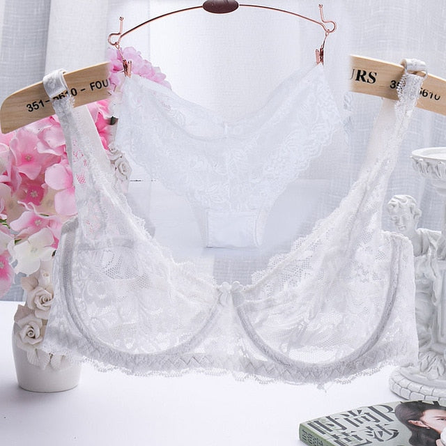 2019 Hollow Sexy Lingerie Bra Set Women Underwear Push Up Bra Mesh Bralette Erotic Lingerie Ultrathin Vintage Lace Lingerie Set