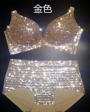 Jazz Pole Dance Costume Golden Silver Full Diamond Bikini Sexy Outfits For Woman Rave Clothes Singer Stage Wear Adult DNV11389