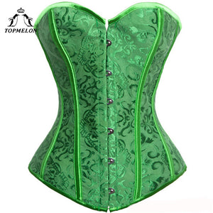 TOPMELON Corselet Sexy Corset Women Steampunk Corsets and Bustiers Bustier Gothic Green Floral Club Show Party Plays Corset Tops