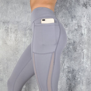 Sexy Mesh Patchwork Fitness Leggings Women Workout Sports Pants High Waist Activewear Gym Leggings Push Up With Phone Pocket
