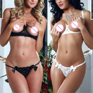 Erotic Lingerie For Women Open Bra Lenceria Sexy Underwear Set Black White Body Stocking Lace Costumes Bikini Sex Clothes SLG615