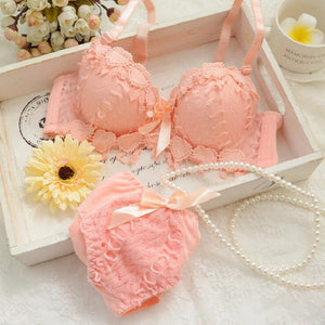 Japanese lingerie set thin embroidery push up bra set sexy lace underwear set Floral bras for women bra and panty set bh