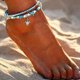 Boho Style Ankle Bracelet Bohemia Sea Turtle Starfish Charms Beach Anklet Shell For Women handmade leg bracelet Jewelry