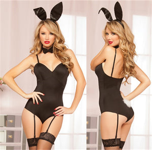 Four Piece Sexy Teddy Set Heaband & Bow Tie And Tail Bunny Set Women's Sexy Lingerie Bunny Bedroom Costume Set Bodysuits