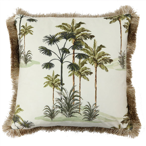 Cushion I Velvet I Palm Tree I White