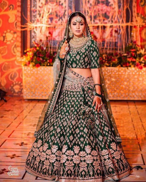 Green Colored Designer Partywear Embroidered Work Malay satin Material Lehenga Choli - WearYourGlamour