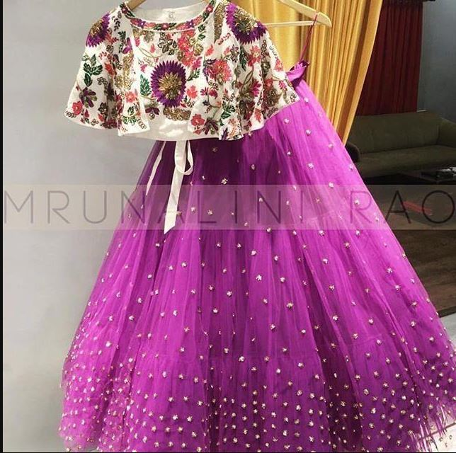 Purple Colored Blouse Embroidered Work Attractive Party Wear Lehenga Choli - WearYourGlamour