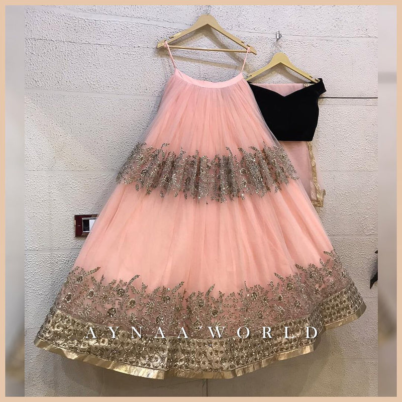 peach Colored Partywear Designer Embroidered Net with silk Lehenga Choli - WearYourGlamour