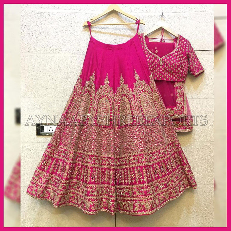Pink Embroidered Attractive Party Wear Malay satin Material With Stone work Lehenga - WearYourGlamour
