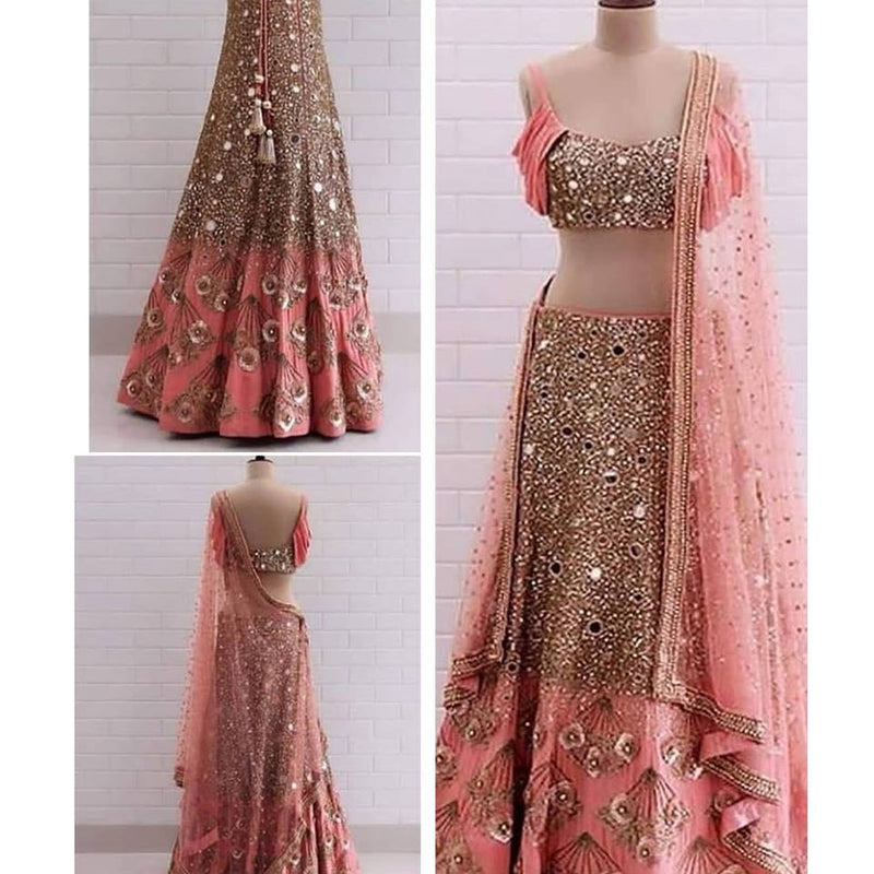 Stunning Mirror work Silk lehenga - Wear Your Glamour