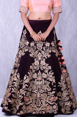 Maroon Colored Party Wear Lehenga Choli With Embroidery Work - WearYourGlamour