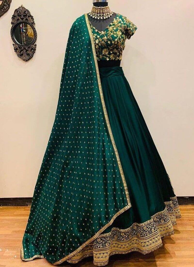 Dark Green Color Wedding Wear Taffeta Silk Base Designer Lehenga Choli - Wear Your Glamour