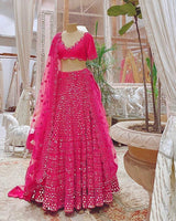 WEDDING RANI PINK FANTOM SILK LEHENGA CHOLI - WearYourGlamour
