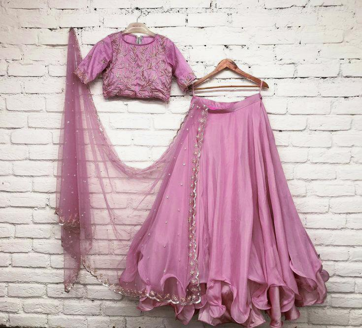JAZZY PINK UMBRELLA FLAIRE CURLY LEHENGA CHOLI - WearYourGlamour