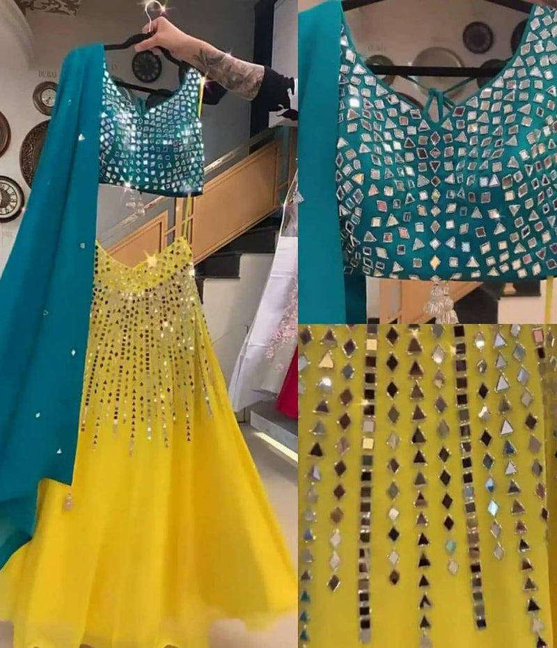 TRENDY YELLOW MIRROR LAHENGA - WearYourGlamour
