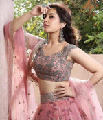 beautifull orgaza silk fabric lengha-wear your glamour - Wear Your Glamour