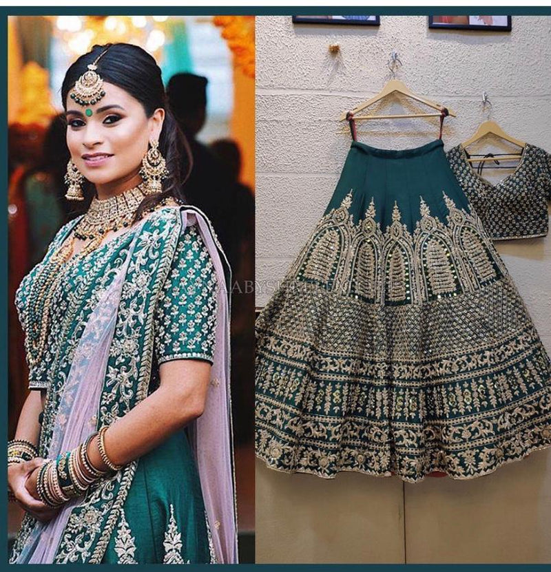Drasty Green Embroidered Attractive Party Wear Malay satin Material With Stone work Lehenga - WearYourGlamour