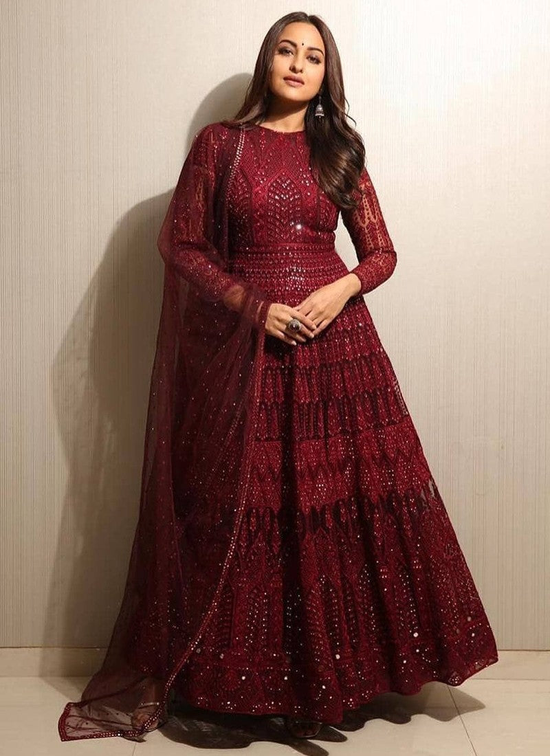 Gorgeous maroon color Designer Ethnic Wear - Wear Your Glamour