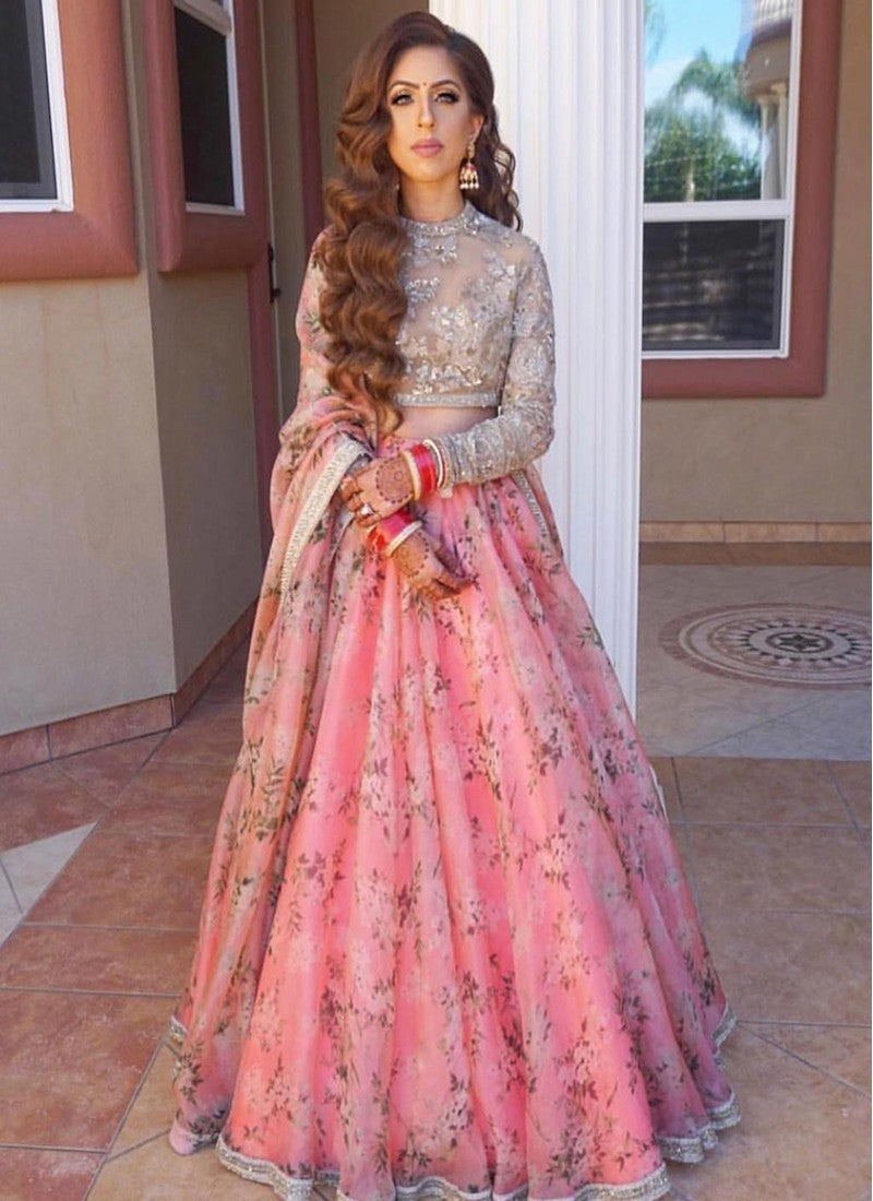 Graceful Party Wear Pink Color Designer Floral Printed Lehenga Choli - Wear Your Glamour