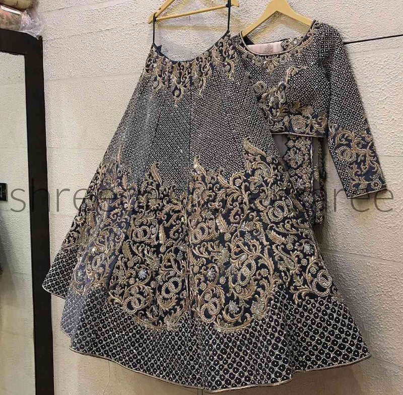 Grey Colored Bridal Velvet material Lehenga Choli With Embroidery Work - WearYourGlamour