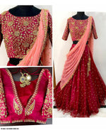 Dark Maroon Color Designer Wedding Wear Pearl Work Lehengacholi - Wear Your Glamour