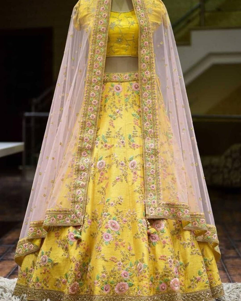Glorious Yellow Colored With Embroidery Work lehenga choli - WearYourGlamour