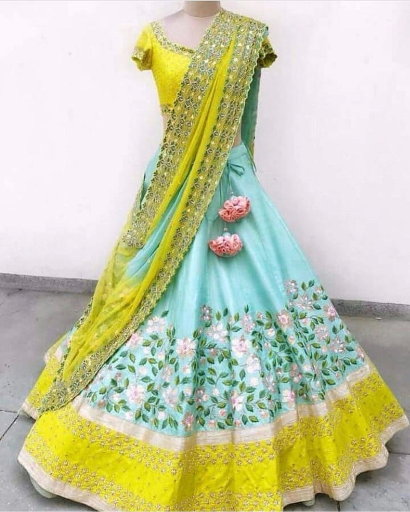 Blue and Yellow Colored Satin Lehenga Choli With Embroidery Work - WearYourGlamour
