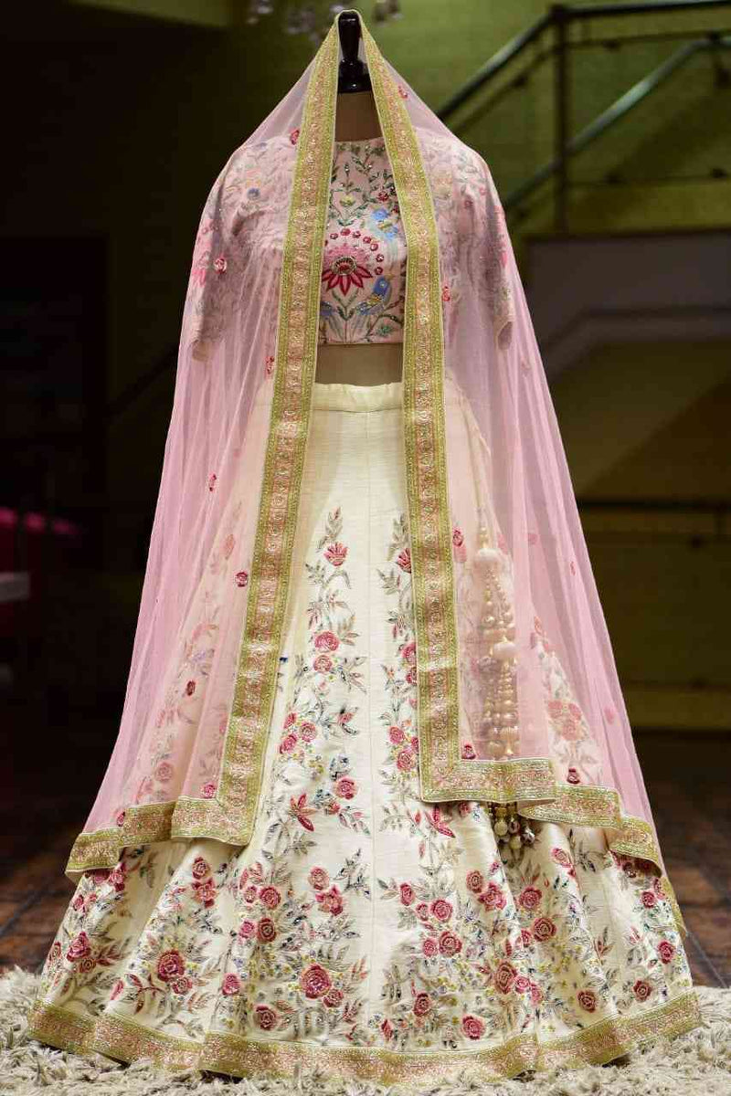 Beautiful Off White Colored Designer Partywear Embroidered Work satin Material Lehenga Choli - WearYourGlamour