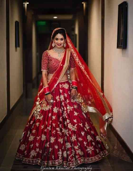 Red Colored Party wear Designer Embroidered Malay satin Lehenga Choli - WearYourGlamour