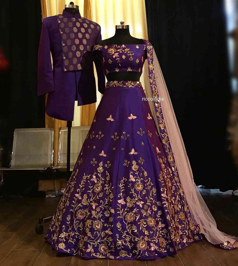 Purple Colored Partywear Designer Embroidered Malay Satin Lehenga Choli - WearYourGlamour