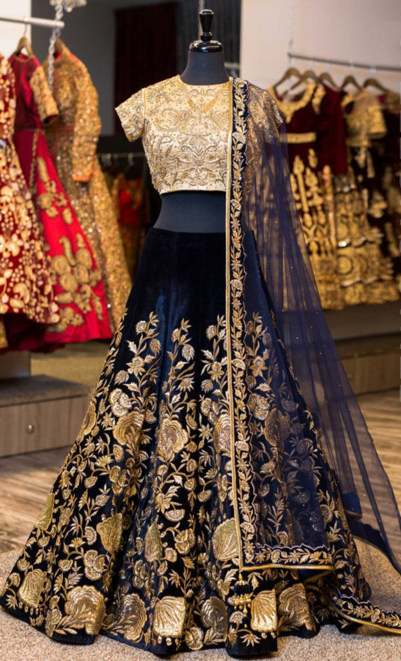 Nevy blue Colored Designer Partywear Embroidered Work Velvet Material Lehenga Choli - WearYourGlamour