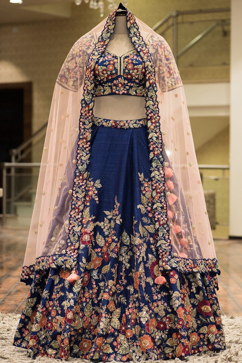Blue Colored Designer Partywear Embroidered Work Malay satin Material Lehenga Choli - WearYourGlamour
