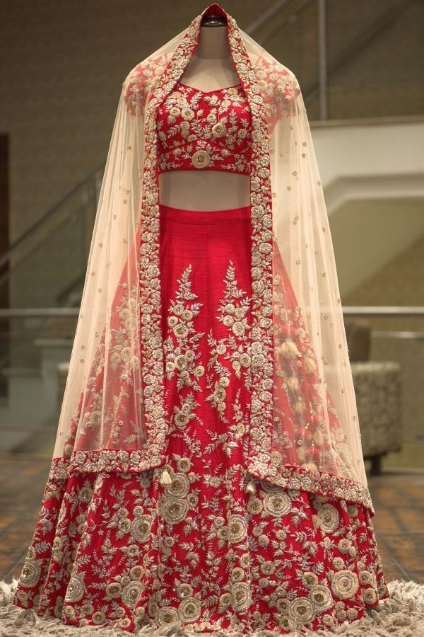 Red Colored Partywear Designer Embroidered Malay Satin Lehenga Choli - WearYourGlamour