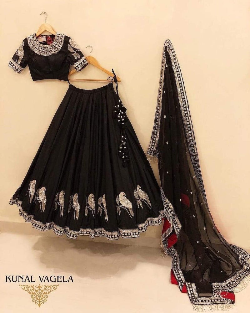 Black Colored Designer Partywear Embroidered Work Malay satin Material Lehenga Choli - WearYourGlamour