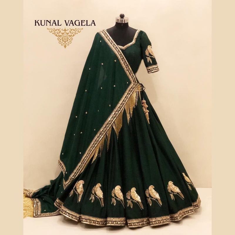 Green Colored Designer Partywear Embroidered Work Silk Material Lehenga Choli - WearYourGlamour