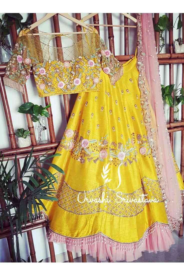 Yellow Colored Party Wear Peach Colored Dupatta Lehenga Choli With Embroidery Work - WearYourGlamour