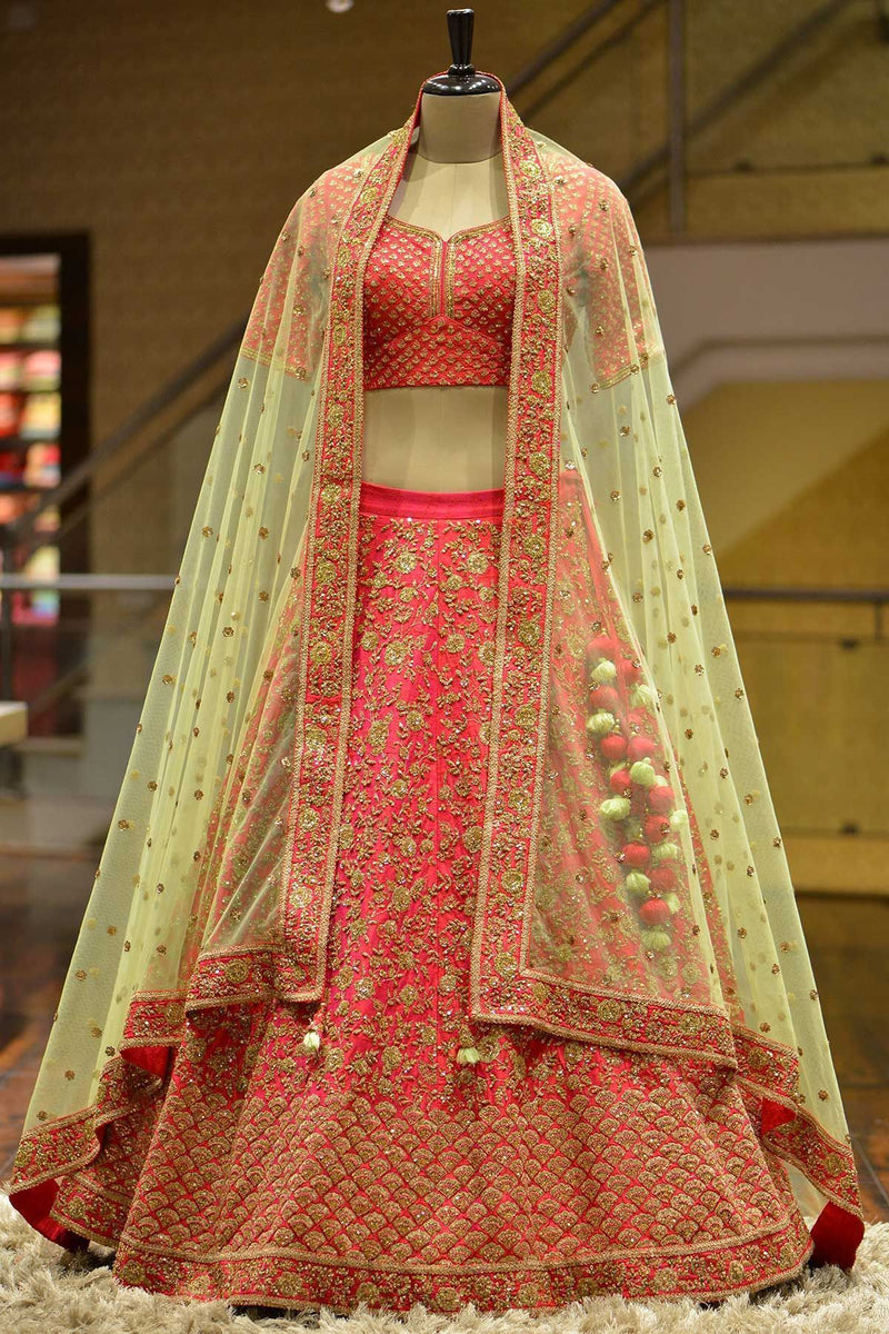 Outstanding Tomato Red Colored Partywear Designer Embroidered Malay Satin Lehenga Choli - WearYourGlamour