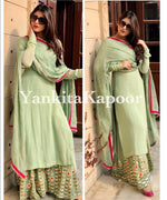 Pista green embroidered partywear plazzo suit - Wear Your Glamour