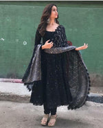 Alia bhatt Black georgette partywear anarkali suit - Wear Your Glamour